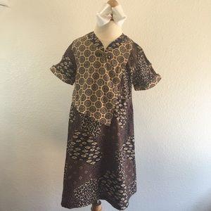 Other - EUC Girls Large Batik Keris Dress Navy/brown